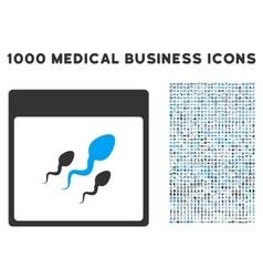 Spermatozoids calendar page icon with 1000 medical vector