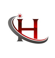 Star swoosh letter h vector