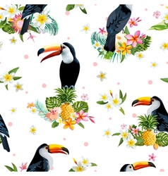 Toucan bird tropical flowers background retro vector