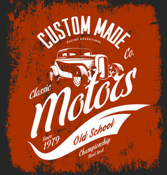 vintage custom hot rod motors logo concept vector image