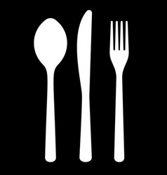 white set of knife fork spoon on black vector image