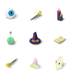 Wizard things icons set isometric style vector
