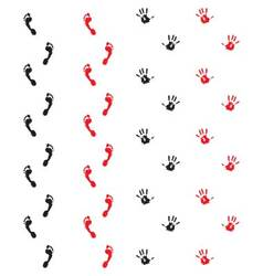 Traces of hands and feet vector image