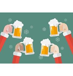Santa clinking beer glasses vector