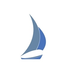 Gray-blue yacht  Logo for sailing vector image