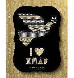 Gold christmas holiday design of modern dove bird vector