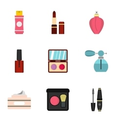 Cosmetics icons set flat style vector
