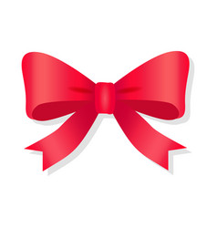 Red bow isolated on white pussy bright bowknot vector