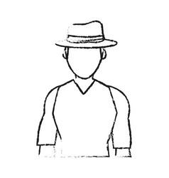 Blurred silhouette half body faceless explorer man vector