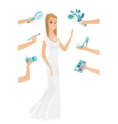 Young caucasian bride in white dress vector