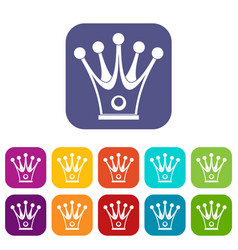 crown icons set flat vector image
