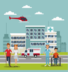 City landscape scene building hospitals with vector