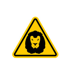 Attention lion leo on yellow triangle road sign vector