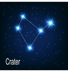 The constellation crater star in the night sky vector