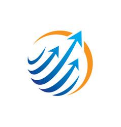 Circle arrow sphere communication logo vector