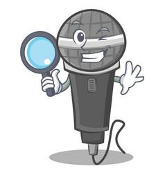 Detective microphone cartoon character design vector