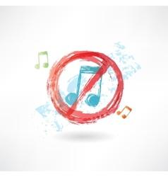 Ban music grunge icon vector