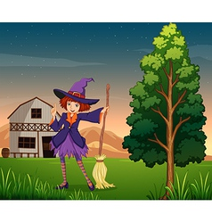 A pretty witch at the farm vector
