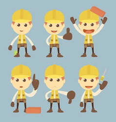 Industrial construction worker character set carto vector