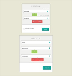 user login and contact form vector image