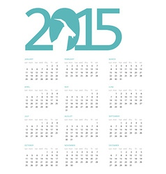 Calendar for 2015 with a blue heading on vector