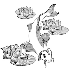 Koi fish with three flowers vector image
