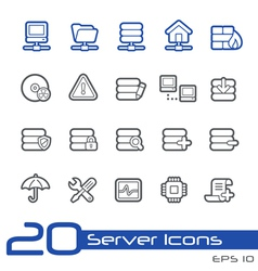 Network and server outline series vector