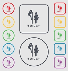 Toilet icon sign symbol on the round and square vector
