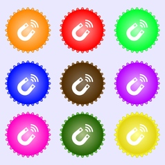 Magnet icon sign a set of nine different colored vector