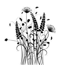 Black and white wild plant silhouettes vector