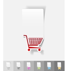 Realistic design element shopping trolley vector