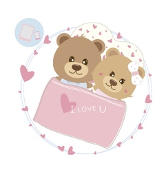 Love concept of couple teddy bear doll sleeping vector