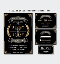 Unique luxury wedding invitations template vector