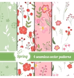 Collection of seamless patterns with stylized cute vector
