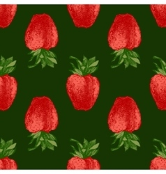 Seamless pattern with fresh strawberries vector