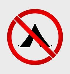 No camping prohibition sign vector