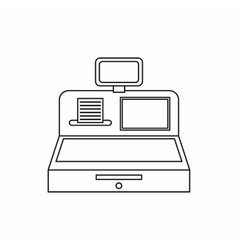 Cash register with cash drawer icon outline style vector