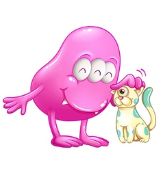 A pink beanie monster with a cat vector image