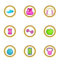 Activity icons set cartoon style vector