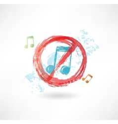 Ban music grunge icon vector