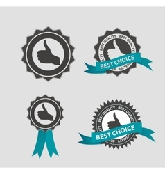 Best choice label with blue ribbon vector