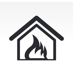 burning home icon vector image