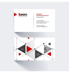 Business card template with triangles and arrows vector