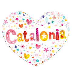 Catalonia autonomous community of spain heart shap vector