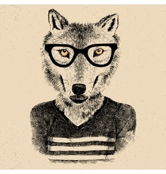 Dressed up wolf vector image