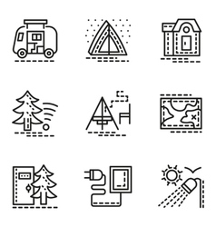 Elements of camping simple line icons set vector image