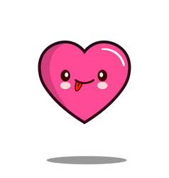 emoticon cute love heart cartoon character icon vector image vector image