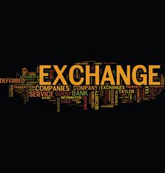 Exchange companies text background word cloud vector