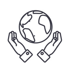 globalization in hands linear icon sign symbol vector image