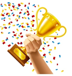 Hand holding a winner trophy cup award vector